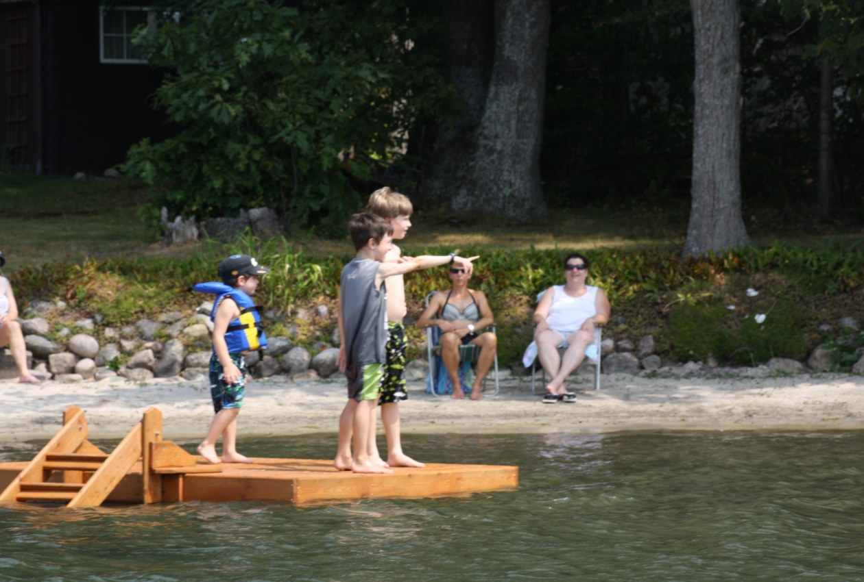 Kids on floating raft